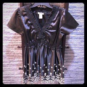 Forever 21 Black Embroidered Top